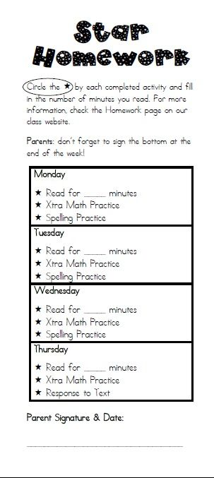 Resources to Implement Star Homework - 3rd Grade Thoughts