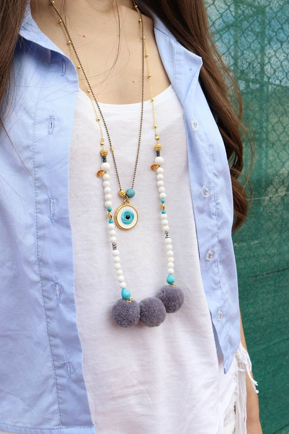Summer Necklaces, Evil Eye Necklace, White Beaded Necklace, Bright Colors Necklaces, Evil Eye Pendant made by Christina Christi Jewels.