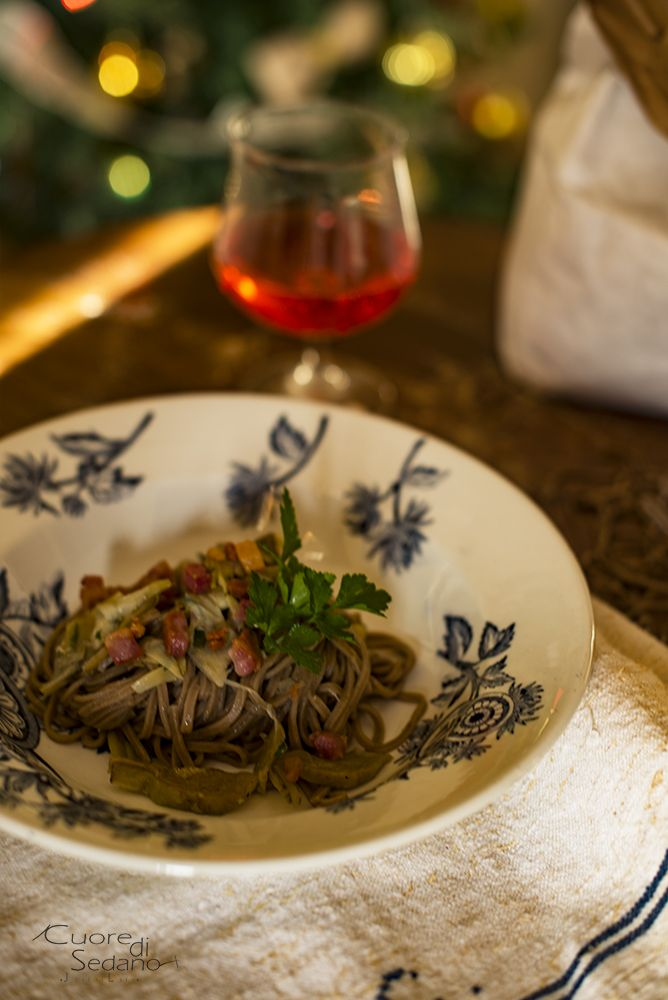 Tagliolini con carciofi e pancetta con PREPARATO PER PASTA AI MALTI RUGGERI