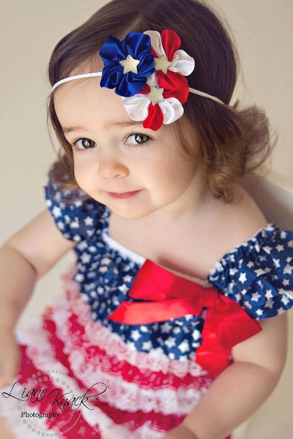 4th of JULY Red White Blue Stars Flowers Headband Hair Bow w/ Mega Star Firework Fire Cracker Bling Patriotic Babies Toddlers Girls