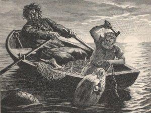 Thor på fisketur med jætten Hymer. Han har fået Midgårdsormen på krogen.