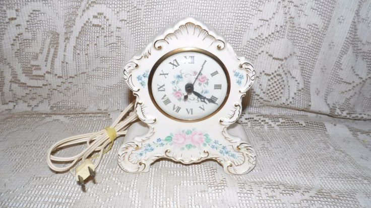 VINTAGE SESSIONS PORCELAIN FLORAL ROSES DESIGN MANTEL ELECTRIC CLOCK USA #Victorian
