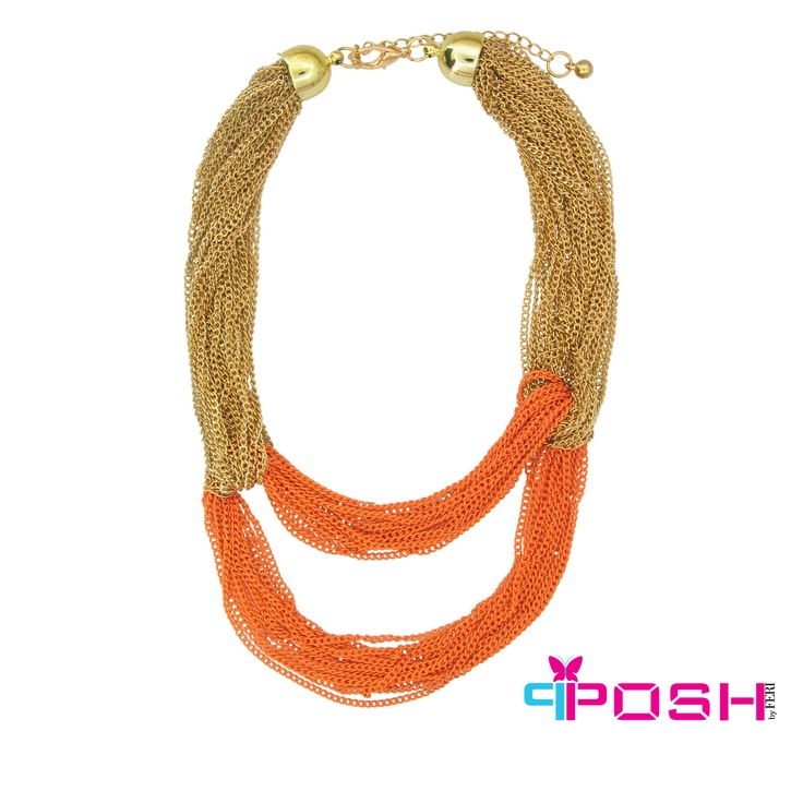 Asal - Colourful Chunky multi Chain Necklace - Gold and orange colour - Dimensions: 46cm + 6cm extending chain $48 #necklace #jewelry