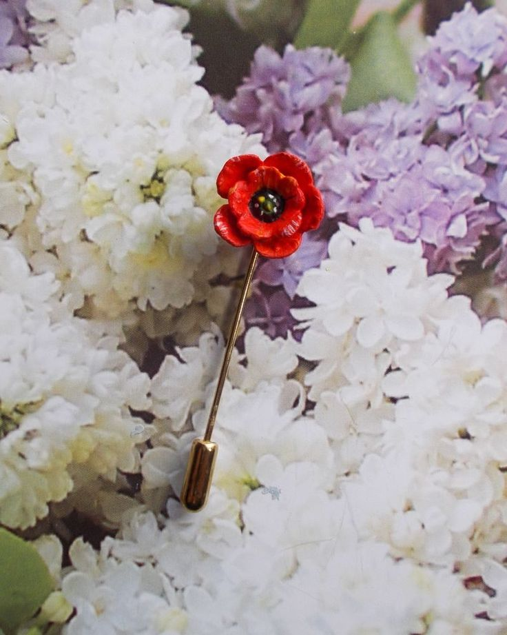 HAND PAINTED Tiny RED POPPY PIN Floral Wedding Brooch Remembrance Lapel Flower  #HandmadeArtistKerryWilliams
