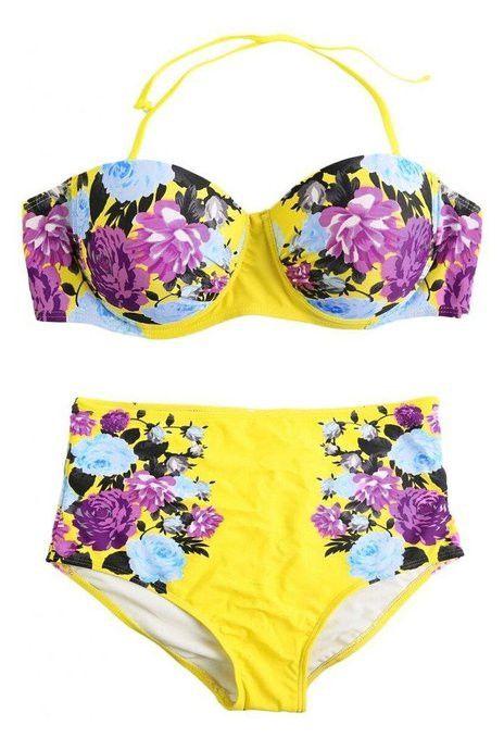 Retro Floral High-Waisted Bikini Sets