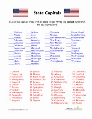 50 States and Capitals Quiz Worksheet