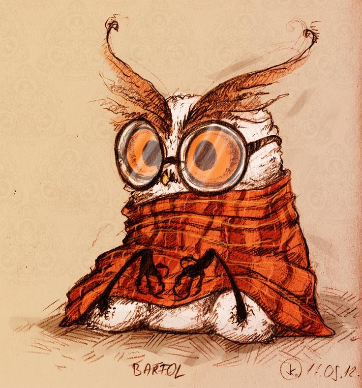 Рисунок прикольной совы, выпускникам первого
