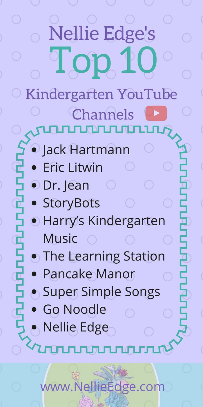 Top 10 Kindergarten YouTube Channels / Selected by Nellie Edge and Colleagues Teachers and students everywhere love these engaging resources. Happy singing, signing, and dancing!