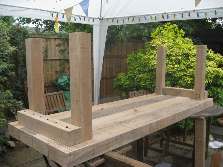 Extra large banqueting table from new oak railway sleepers