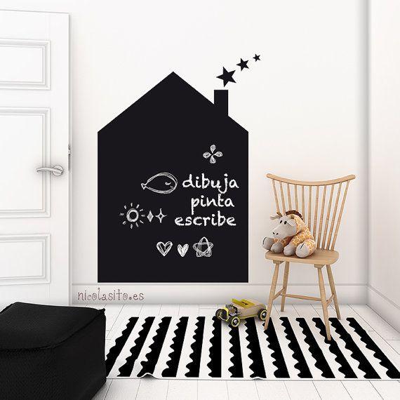 Chalkboard house Vinyl Decal - Blackboard for Drawings & Children Scribbles - House Chalkboard Wall Sticker - Nursery deco - Children wall