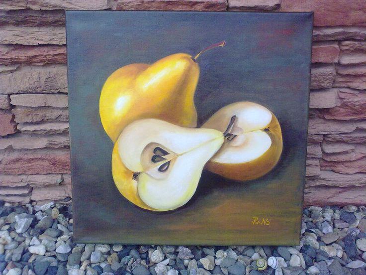 Hrušky-Obraz je namalovaný olejovými barvami na plátno