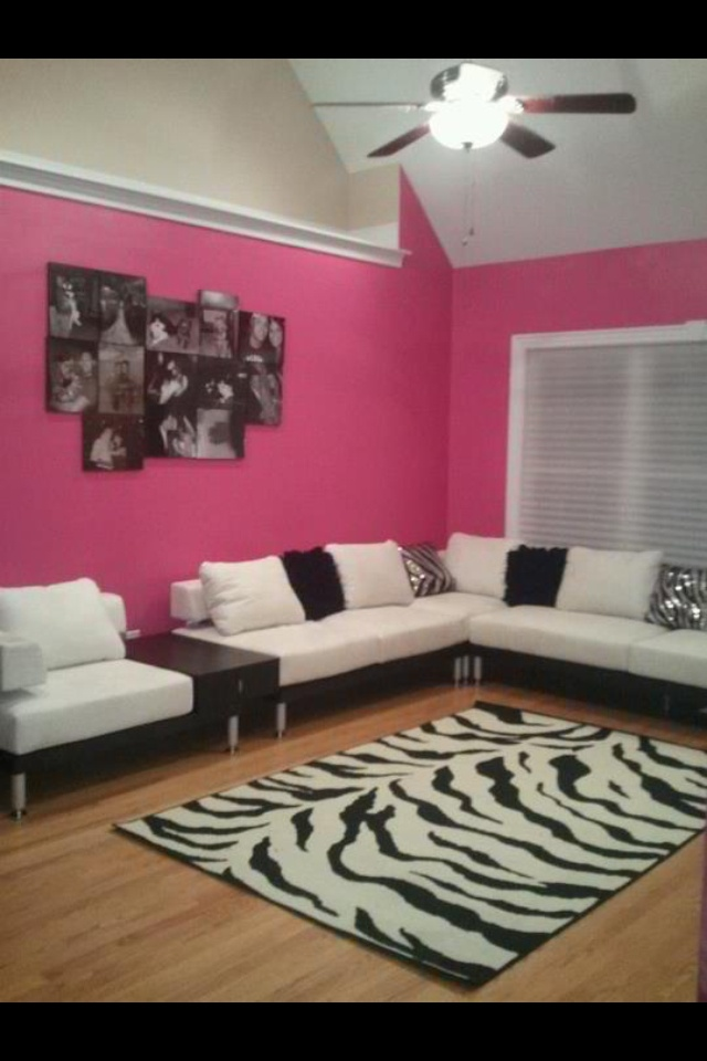Pink and zebra living room