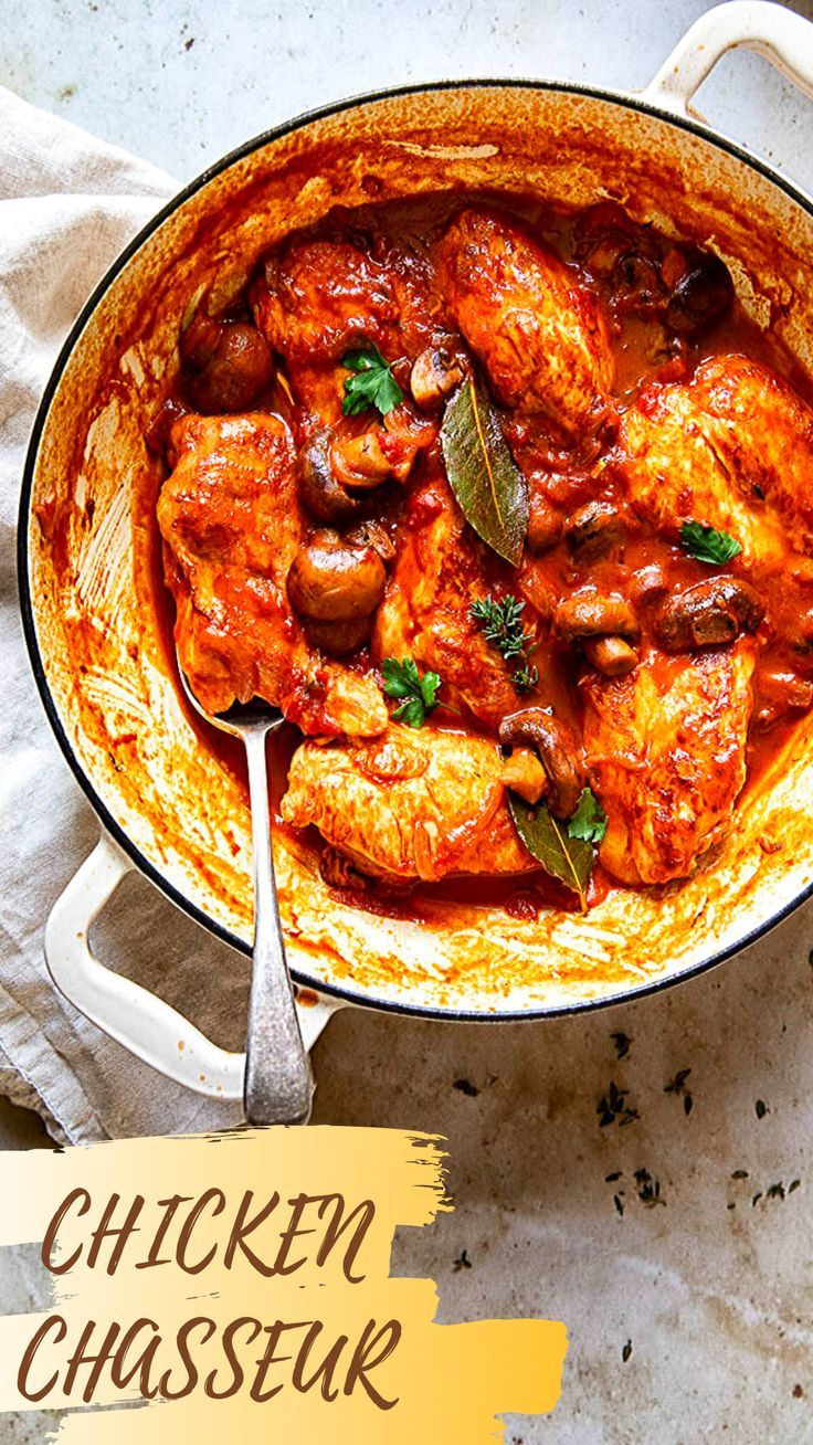 Chicken Chasseur Recipe In 2020 Chicken Chasseur Recipe Dinner Party Recipes Poultry Recipes