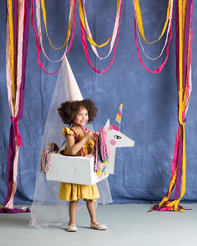 I love what you can do with a cardboard box. Cutest little unicorn  riding princess. Find my instrux and templates for this easy costume (as well as four others) in the current Halloween edition of @betterhomesandgardens. #mermaghalloween #cardboardcostume  @nicolegerulat