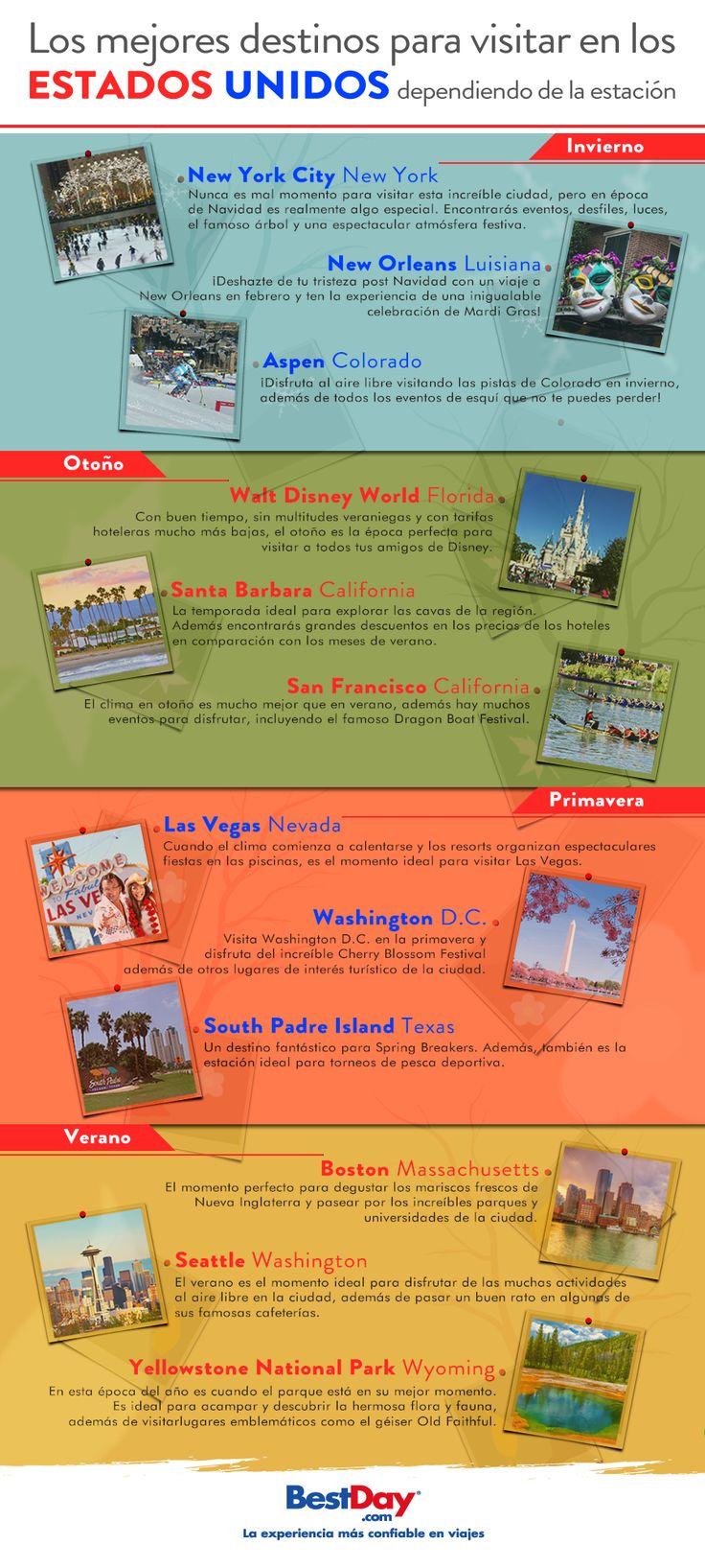 ¿Piensas viajar este año a #EstadosUnidos pero no sabes para cuándo? Te pasamos nuestras recomendaciones por destino según la estación del año