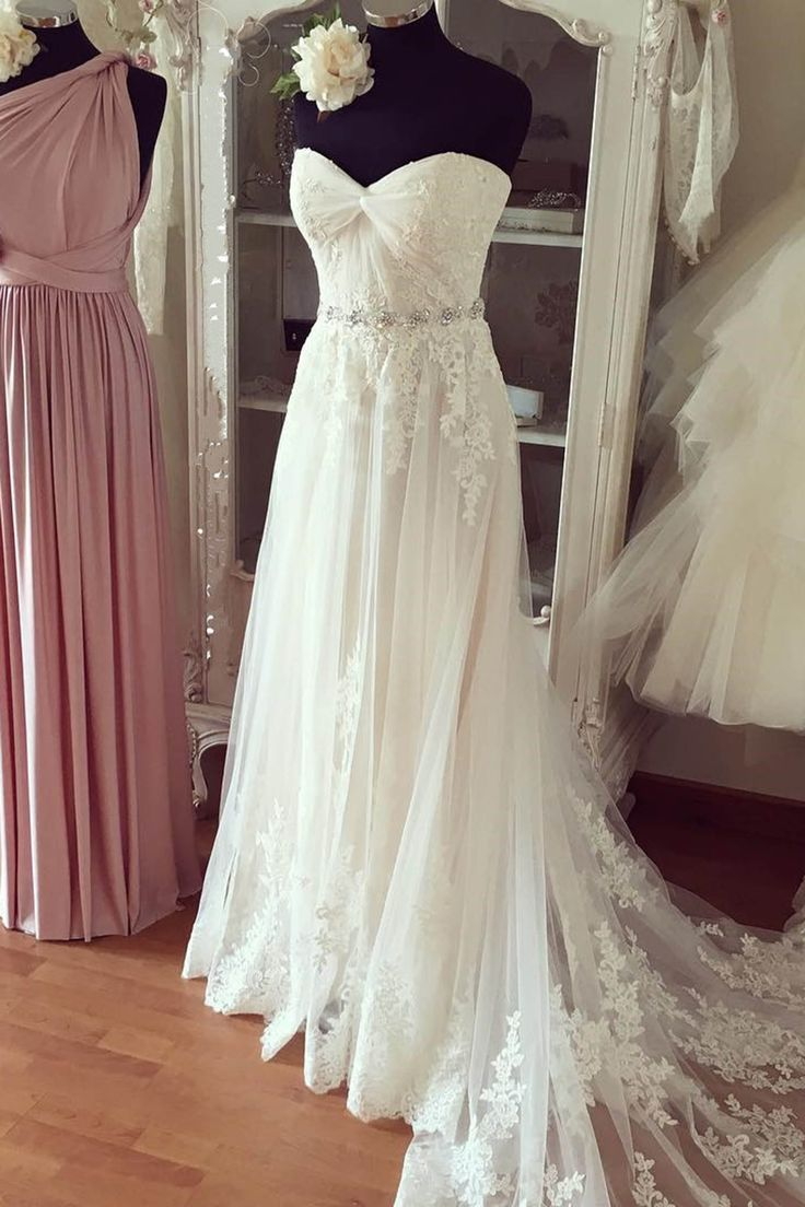 White lace sweetheart wedding dress,handmade dress with train