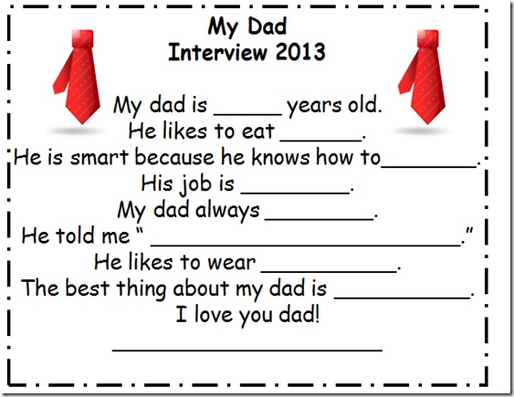 Father's Day Interview- FREEBIE Kreative in Kindergarten