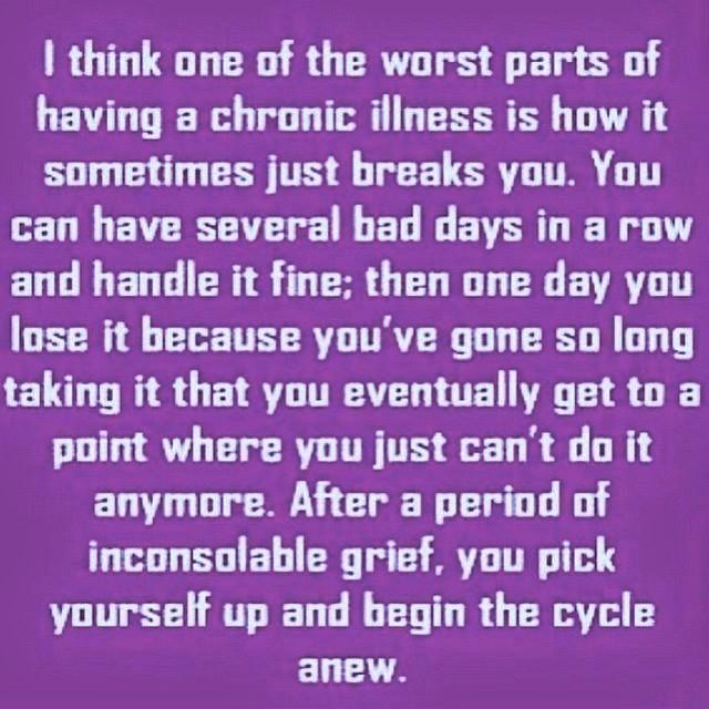 The cycle only ends when life does. This IS one of the worst parts, until we find a cure! Spread ‪#‎lupus‬ ‪#‎fibro‬ ‪#‎autoimmune‬ awareness!