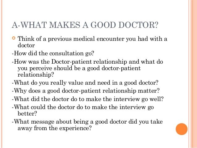 what makes a good doctor