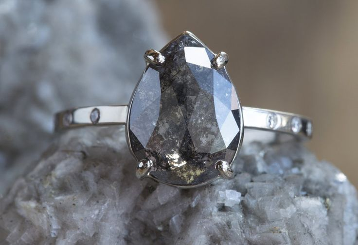 Natural Black Rose Cut Diamond Ring with Pavé Diamond Band