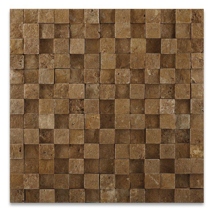 "Buy 1 X 1 Noce Travertine HI-LOW Split-Faced Mosaic Tile Sample Product Attributes - Item: Premium (SELECT) Quality 1"" X 1"" NOCE TRAVERTINE HI-LOW SPLIT-FACED MOSAIC TILE (ON-MESH) - Dimensions (per p"