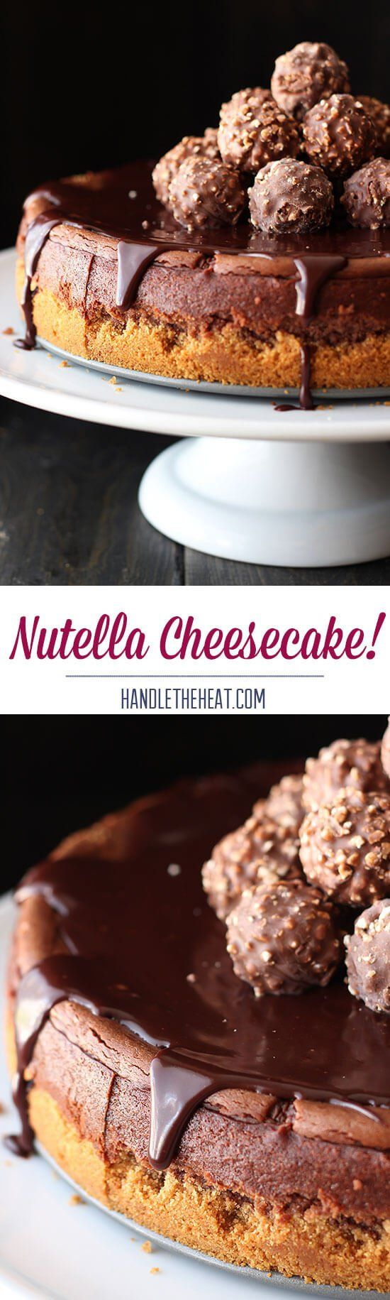 Nutella Cheesecake. This. is. DIVINE!! SO easy to make and tastes OUTSANDING. Ingredients: graham crackers, butter, cream cheese, semisweet chocolate, eggs, sugar, cocoa, Nutella, heavy cream, vanilla, hazelnut liquor (optional)