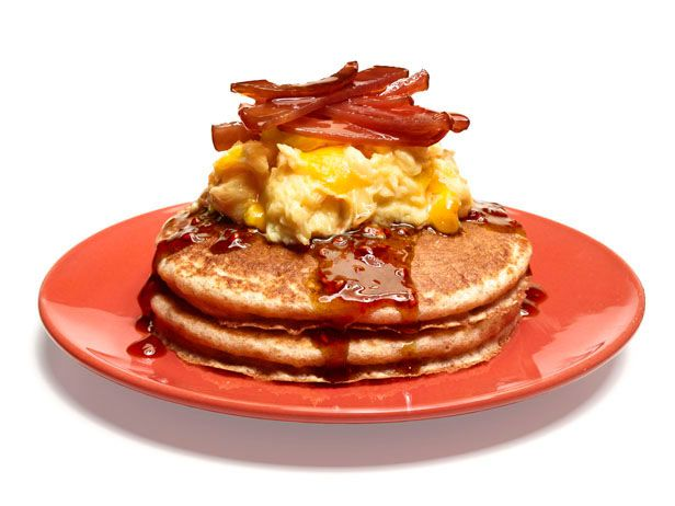 Try #FNMag's Whole-Grain Pancakes With Eggs and Bacon this weekend for a satisfying kid-approved breakfast!: Food Network, Bacon Breakfast, Eggs, Foodnetwork Com, Whole Grains Pancakes, Breakfast Brunch Recipes, Bacon Recipes, Breakfast Brunch Food, Whole Grain Pancakes