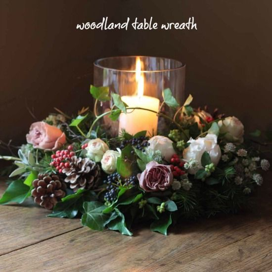 The Real Flower Company Christmas Luxury Woodland Table Wreath