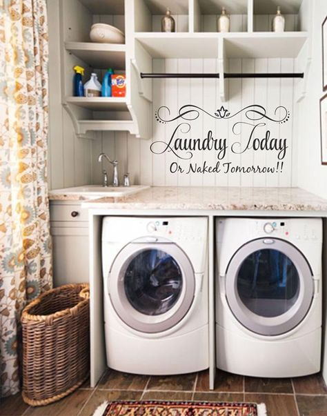 laundry today or naked tomorrow laundry room decor laundry quote vinyl wall decal stickers - Laundry Room Decor