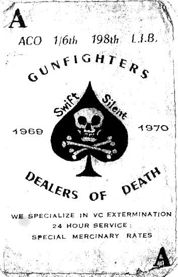 """ACO 1/6th 198th L.I.B. """"Gunfighters"""" Death card left on the bodies of dead Viet Cong and North Vietnaamese soldiers after a battle. Viet Nam (1964 - 1970) via pinterest"""