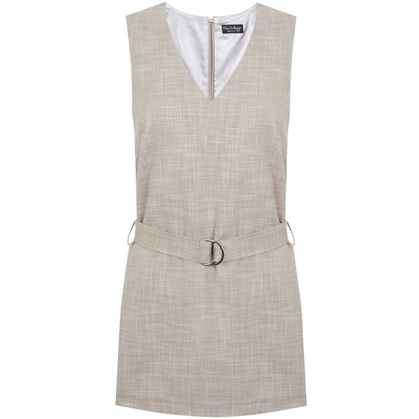 Miss Selfridge Belted Tunic, Beige (€16) ❤ liked on Polyvore featuring tops, tunics, beige top, smock tops, belted top, miss selfridge and smocked top