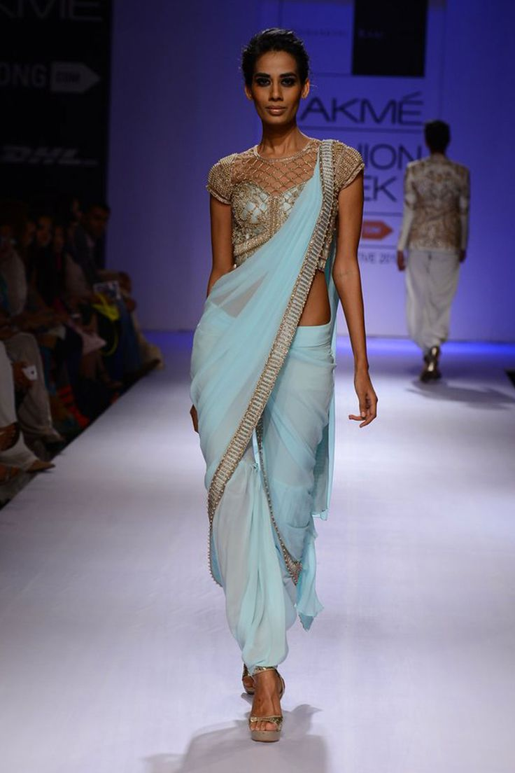 Powder blue embroidered pant sari gown available only at Pernia's Pop-Up Shop.