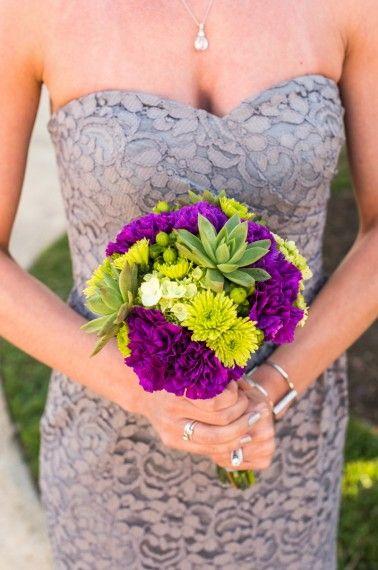 Grey lace bridesmaid dress with bright purple bouquet   Caroline & Evan Photography