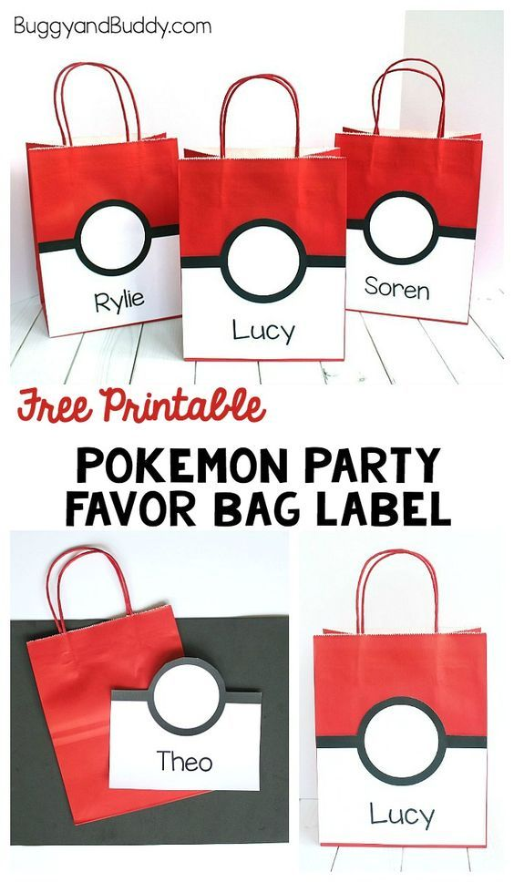Free printable pokemon party favor bag label that looks like a pokeball! Includes party favor ideas for a Pokemon birthday party! ~ BuggyandBuddy.com