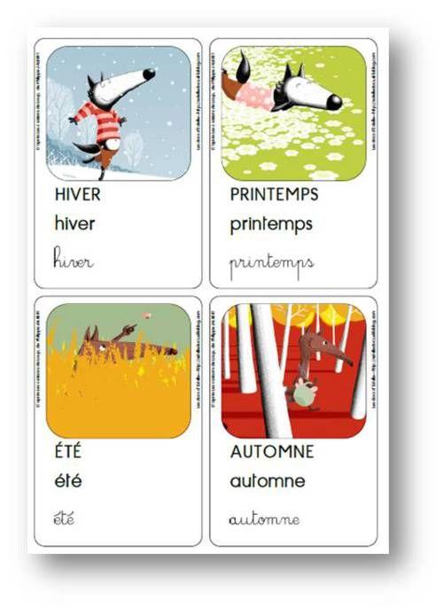 Les 4 saisons de Loup, Philippe Jalbert - Cartes vocabulaire
