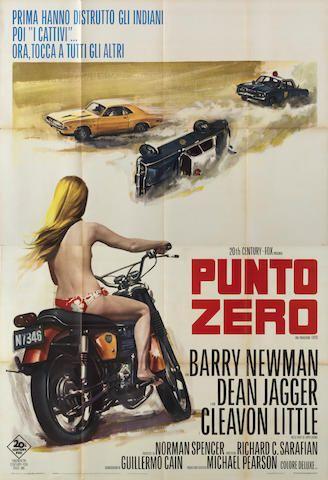 AFFICHE DU FILM « PUNTO ZERO » (POINT LIMITE ZERO/VANISHING POINT), VERSION ITALIENNE EN DEUX FEUILLES, 1971, ((2))