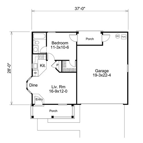1 bedroom garage apartment floor plans adu samples for Two car garage with apartment on top