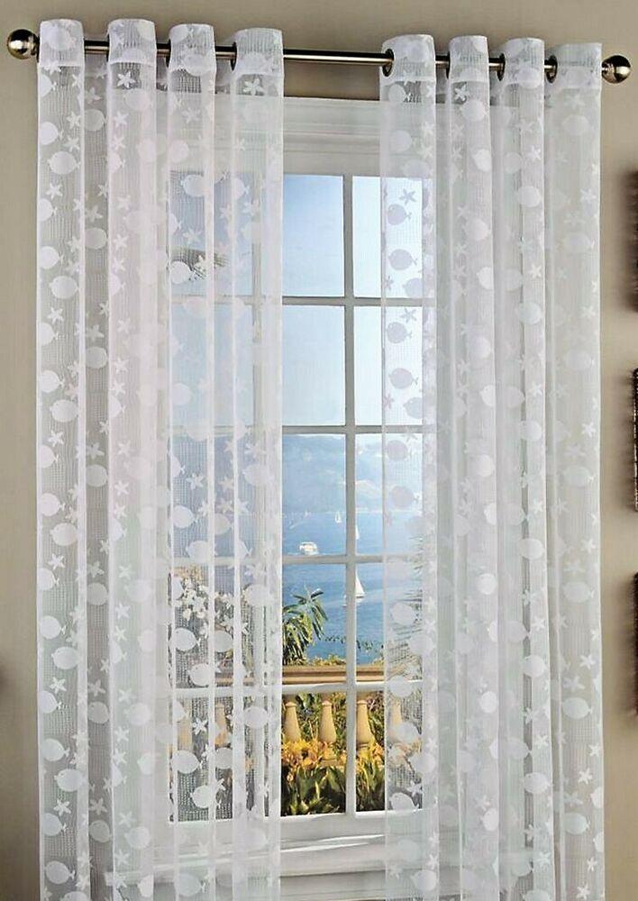 Details About Lorraine Fish Tales Grommet Panels Curtains 84l