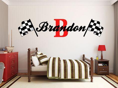 Boys Name Racing Monogram Wall Decal Nursery Room by StickerHog