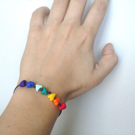 Hey, I found this really awesome Etsy listing at https://www.etsy.com/listing/270481115/heart-bracelet-rainbow-bracelet-rainbow