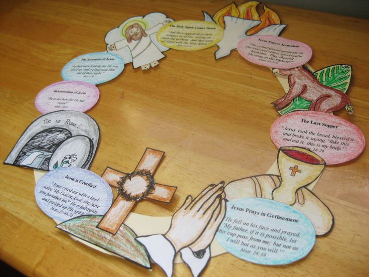 """""""Wee Little Miracles"""" provides a free printable for making her adaptation of a Resurrection wreath...great idea for using to teach/remind younger children about Christ and Resurrection Day...that they can color & help assemble."""