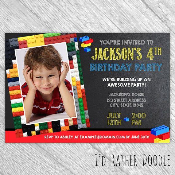Custom Birthday Invitation Legos Inspired  by IdRatherDoodle