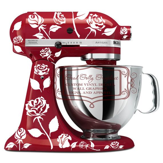 Roses Kitchen Mixer Vinyl Decal Set By GoodGollyGraphics On Etsy, $18.00