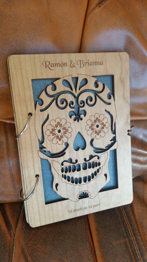 Sugar skull wedding guest book / sugar skull by AmazingWoodCraft