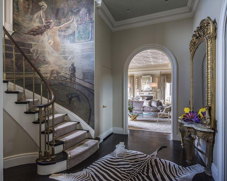 Charming Park Avenue Penthouse Design With Stark Animal Print Stair Runner. Designed  By Charles Pavarini.