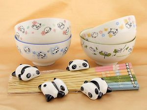 NEW 4 TARE PANDA BOWL/CHOPSTICK& RESTS SET LOT