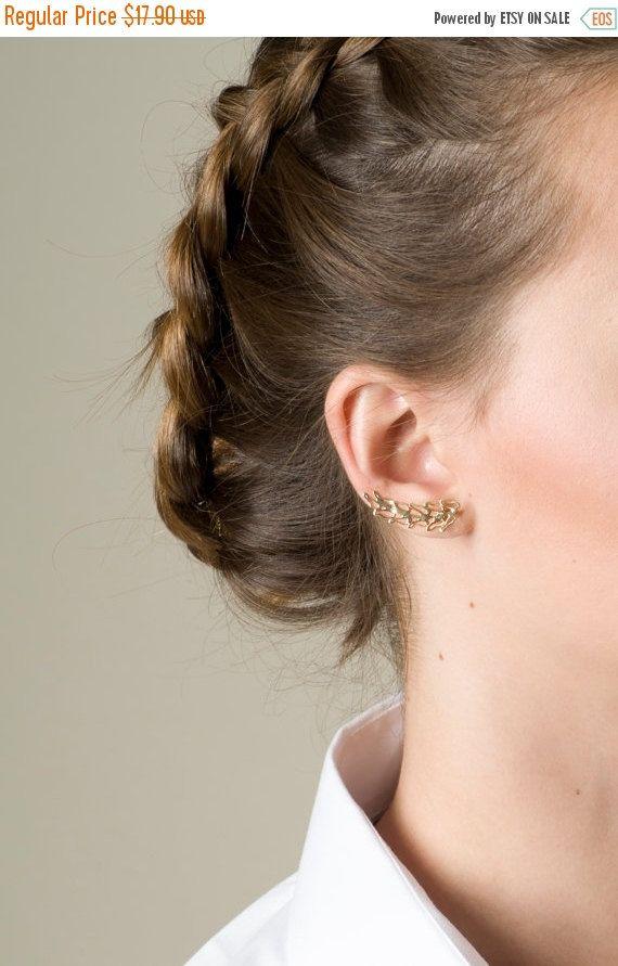 SALE Leaf Ear Cuff Earring, Gold Ear Cuff, Ear Sweep, Gold Filled, 14K Gold plated Leaf Earring, Ear wrap, Single Earring, Ear Climber Earri