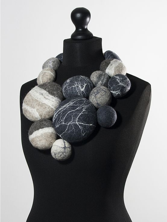 "Charlotte Molenaar Viltwerk - necklace -Boulders (necklace), 2015 felted wool with silk fibers, total length 39"" -  750$"