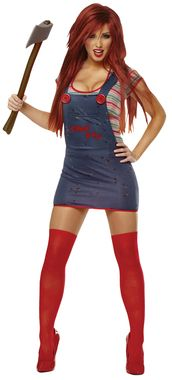 Overalls dress, top, and thigh highs. Weapon not included. Add your own wig. Medium 8-10.