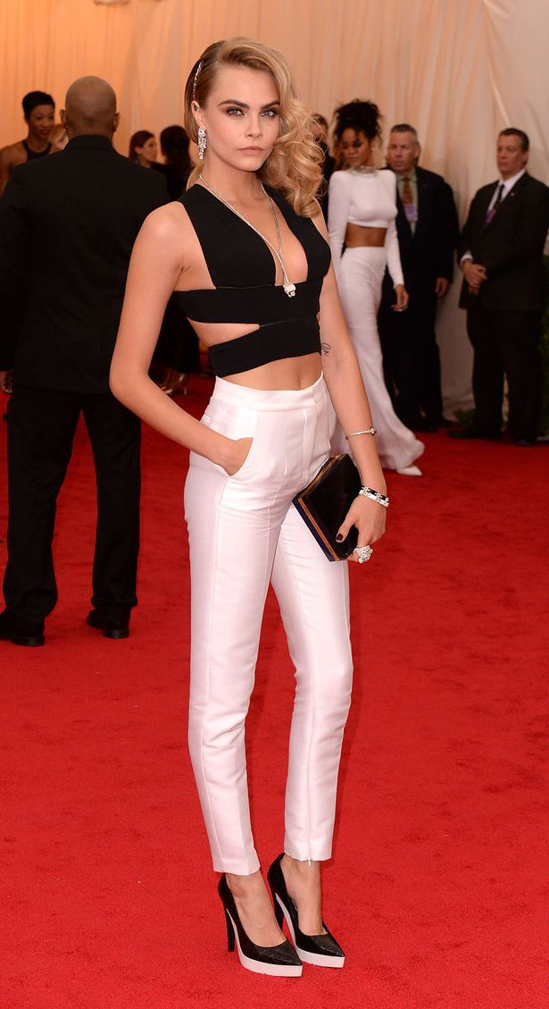 Cara Delevingne in Stella McCartney pants ensemble @ Met Gala 2014